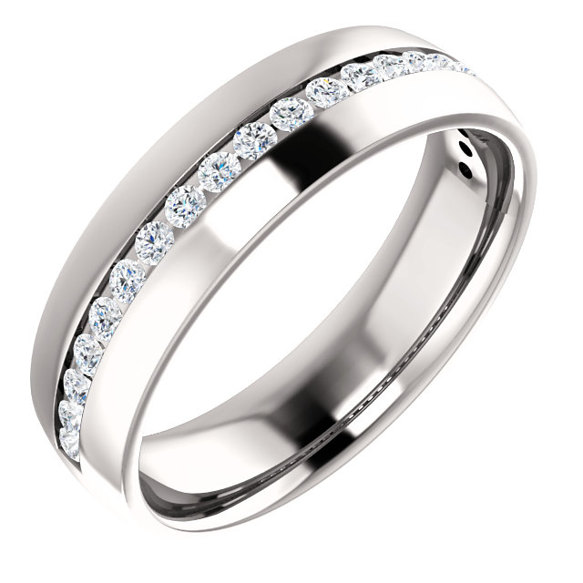 White Gold Diamond Center Accented Band 1.7 mm accent stones - 123307