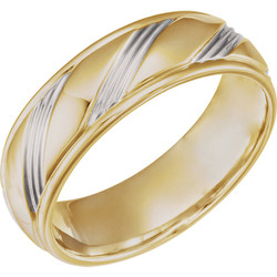 Two-Tone Rhodium Plated Gold Fancy 6.5 mm Wedding Band - 653070