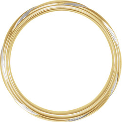 Two-Tone Rhodium Plated Gold Fancy 6.5 mm Wedding Band through view - 653070