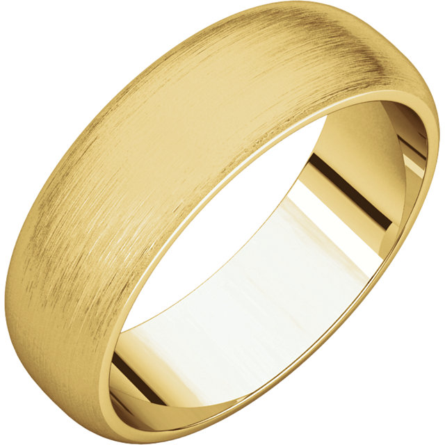 Half Round Men's Band Yellow Gold Brushed finish