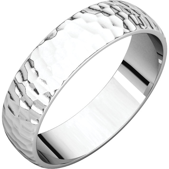 Half Round Light Men's Band White Gold Hammered Finish