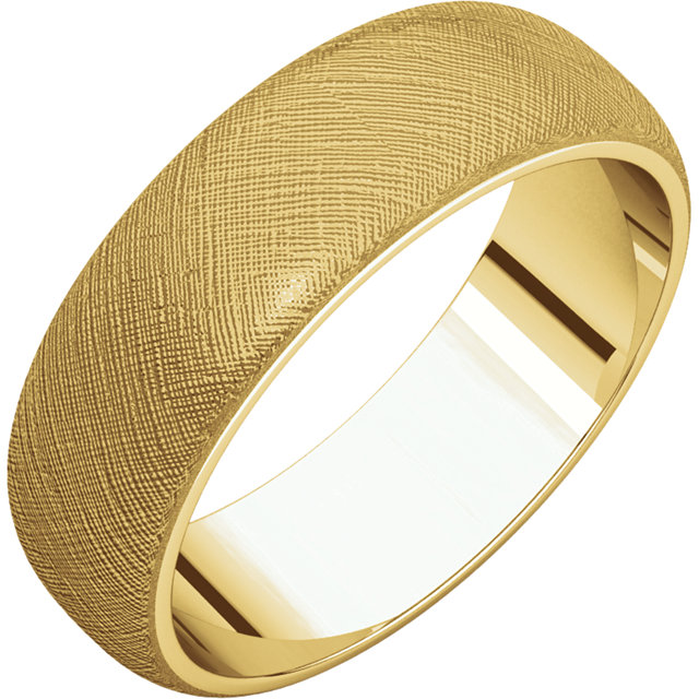 Half Round Men's Band Yellow Gold Florentine Finish