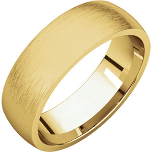 Comfort Fit Light Yellow Gold Men's Band Brushed finish