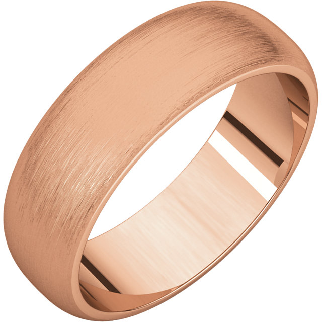 Half Round Men's Band Rose Gold Brushed finish