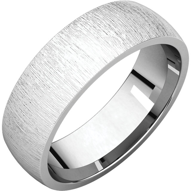 Comfort Fit Light White Gold Men's Band Stone Finish