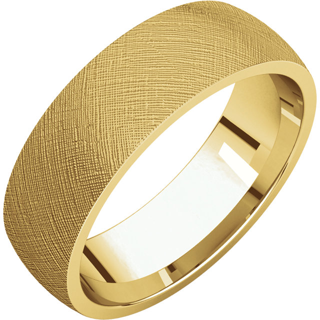 Comfort Fit Light Yellow Gold Men's Band Florentine finish