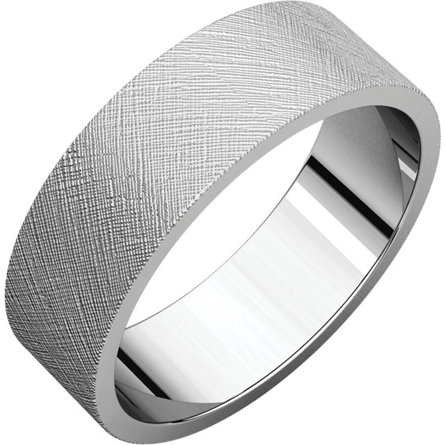 Flat White Gold Band Florentine finish