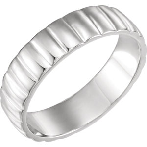 Grooved Bar White Gold Men's Band - 51775