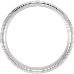 Double Milgrain Accented Comfort Fit Band White Gold through view - 122719