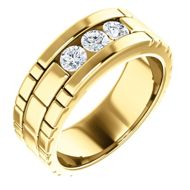 Three Stone Band 0.6 CTW Round Yellow Gold - 123522