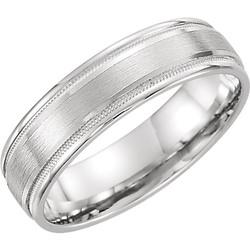 Flat Edge Milgrain Comfort Fit Brushed White Gold Men's Band - 51538