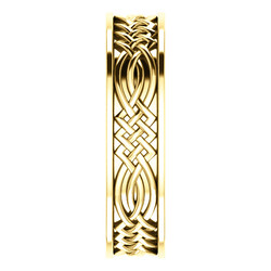 Celtic Inspired Yellow Gold Men's Band side view  - 51838