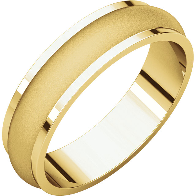 Half Round Edge Men's Band Yellow Gold Glass Blast finish