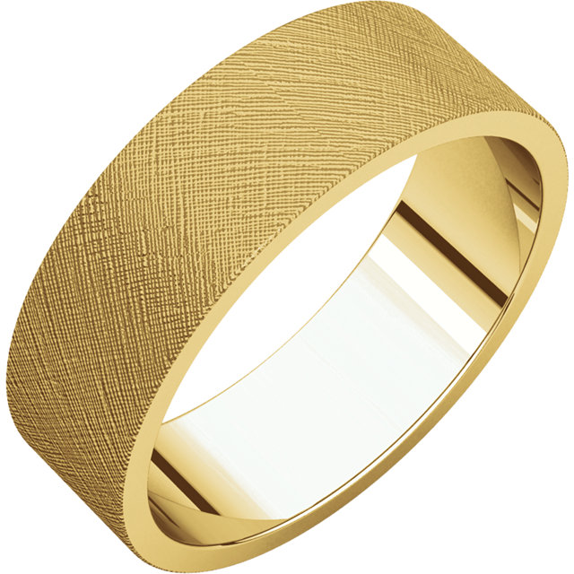 Flat Yellow Gold Band Florentine finish