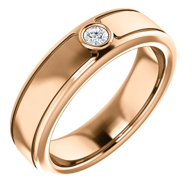 Solitaire 3mm Round Diamond .10 CTW Rose Gold - 123478