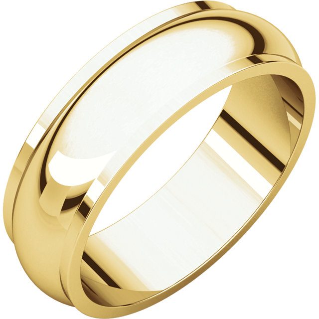 Half Round Edge Men's Band Yellow Gold