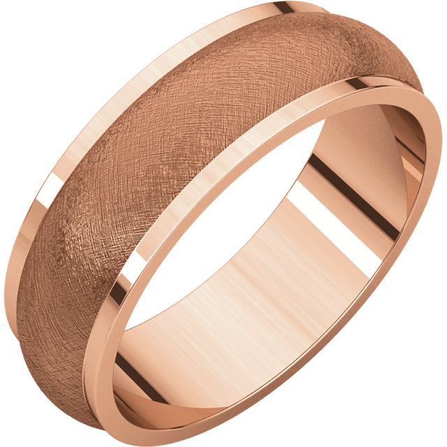 Half Round Edge Men's Band Rose Gold Ice Finish