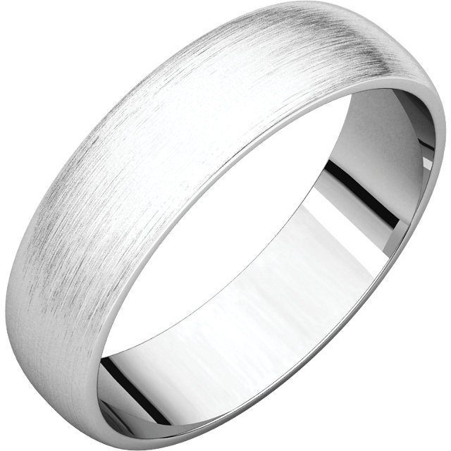 Half Round Light Men's Band White Gold Brushed Finish