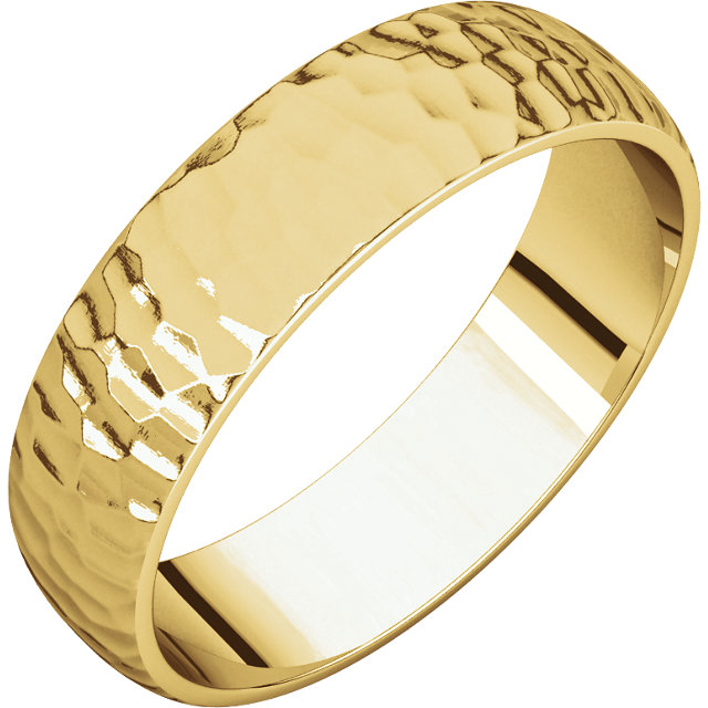 Half Round Light Men's Band Yellow Gold Hammered Finish
