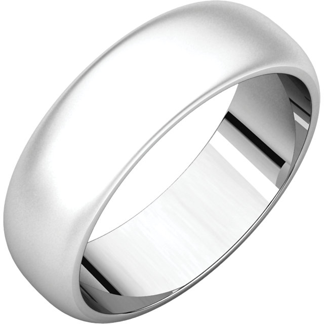 Half Round Men's Band White Gold Bead Blast finish