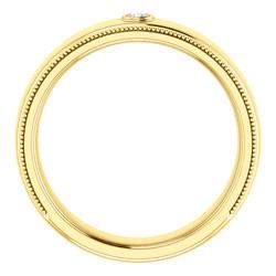 Solitaire Bezel Set Milgrain Band Yellow Gold through view - 123214