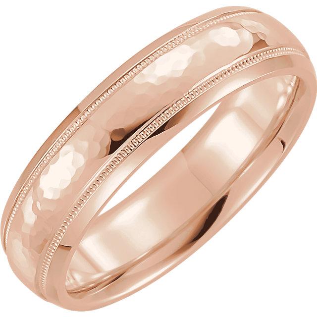 Half Round Comfort Fit Milgrain Rose Gold Men's Band  - 51542