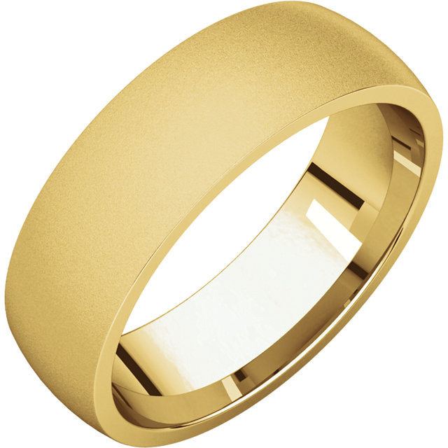 Comfort Fit Light Yellow Gold Men's Band Glass Blast finish