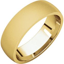 Comfort Fit Light Yellow Gold Men's Band Glass Blast finish