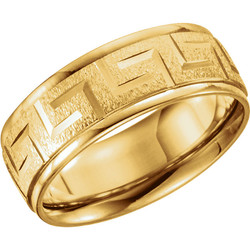 Greek Key Comfort Fit Ring 7mm Yellow Gold - 50680