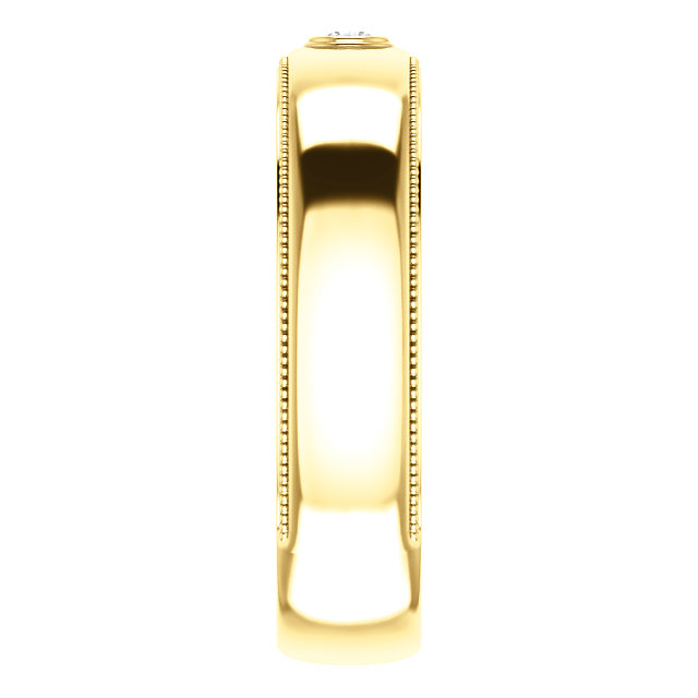 Solitaire Bezel Set Milgrain Band Yellow Gold side view - 123214