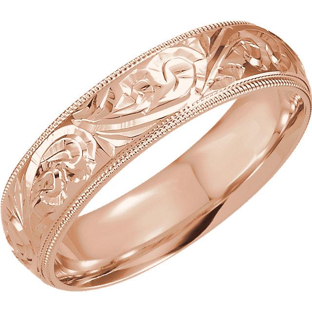 Design Sculptured Milgrain 6mm Band Rose Gold - 50066