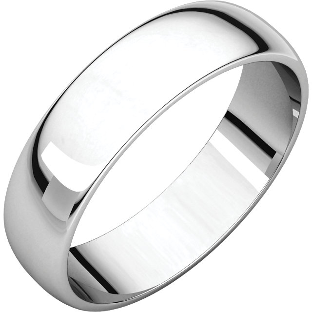 Half Round Light Men's Band White Gold