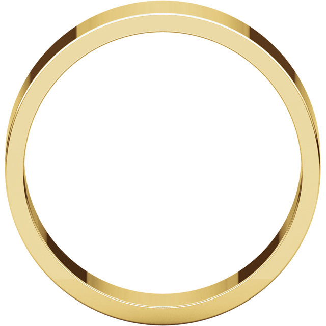 Flat Yellow Gold Band through view