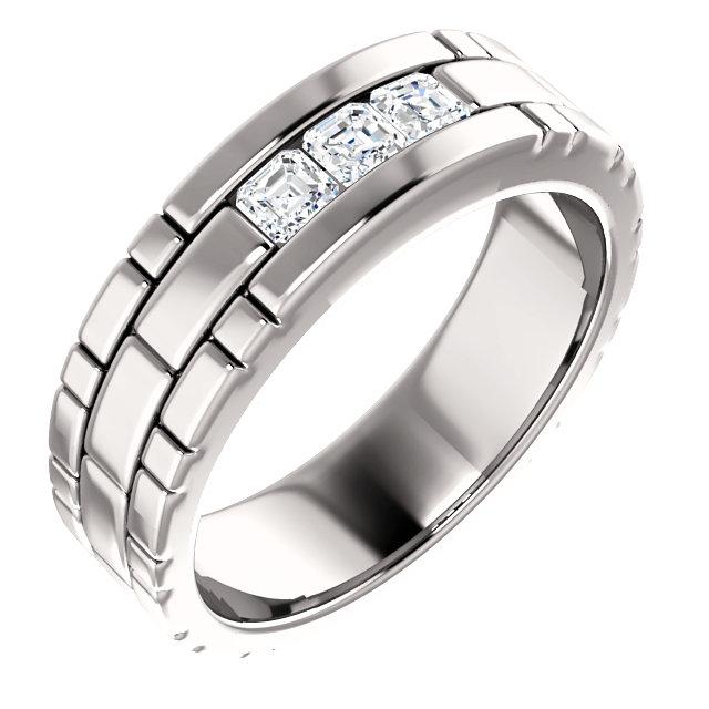 Three Stone Band Asscher Cut Diamonds - 123522