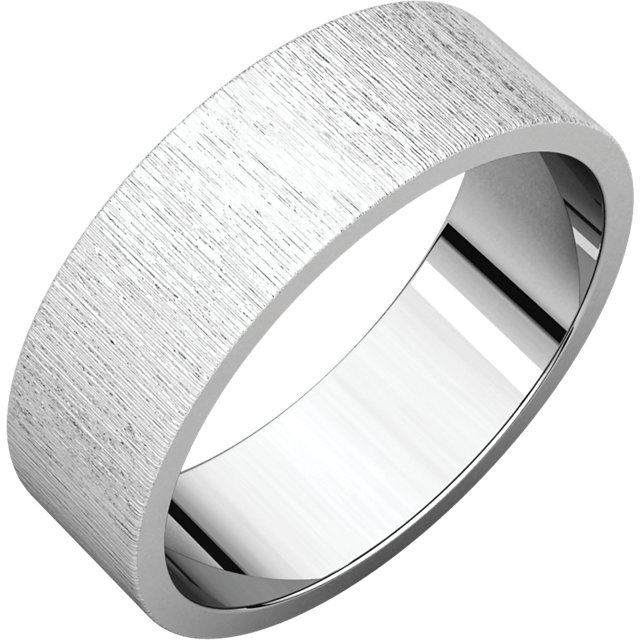 Flat White Gold Band Stone finish