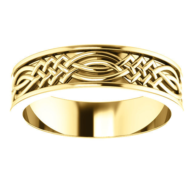 Celtic Inspired Yellow Gold Men's Band alternate view  - 51838
