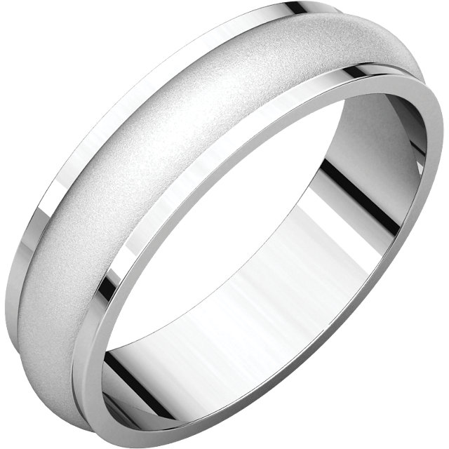 Half Round Edge Men's Band Glass Blast finish
