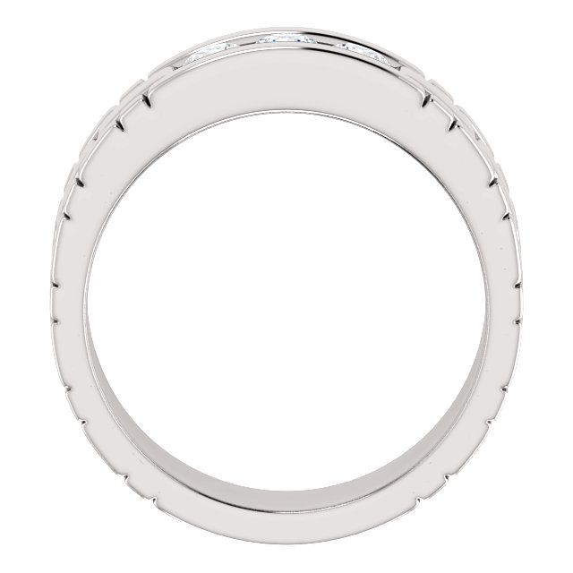 Three Stone Band 0.6 CTW Round White Gold through view- 123522