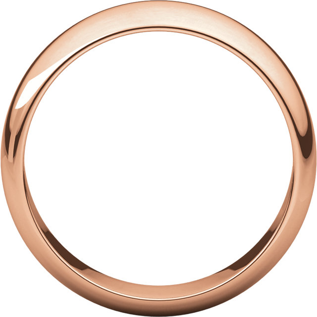 Half Round Men's Band Rose Gold through view