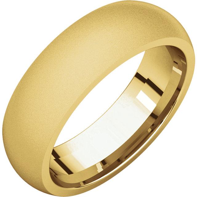 Comfort Fit Yellow Gold Men's Band Glass Blast finish