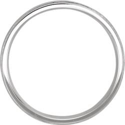 Flat Edge Milgrain Comfort Fit Brushed White Gold Men's Band through view - 51538