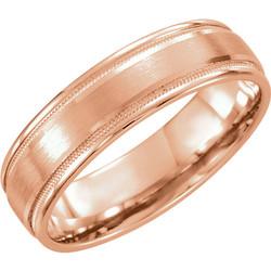 Flat Edge Milgrain Comfort Fit Brushed Rose Gold Men's Band - 51538