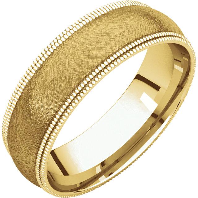 Double Milgrain Yellow Gold Band ice finish