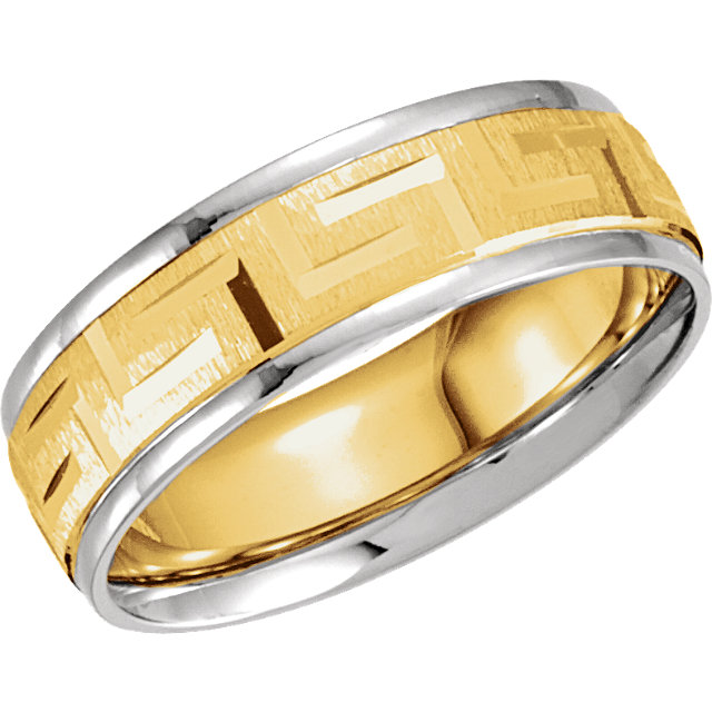 Greek Key Comfort Fit Ring 7mm Yellow and White Gold - 50680