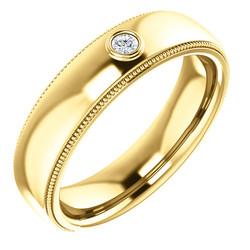 Solitaire Bezel Set Milgrain Band Yellow Gold - 123214