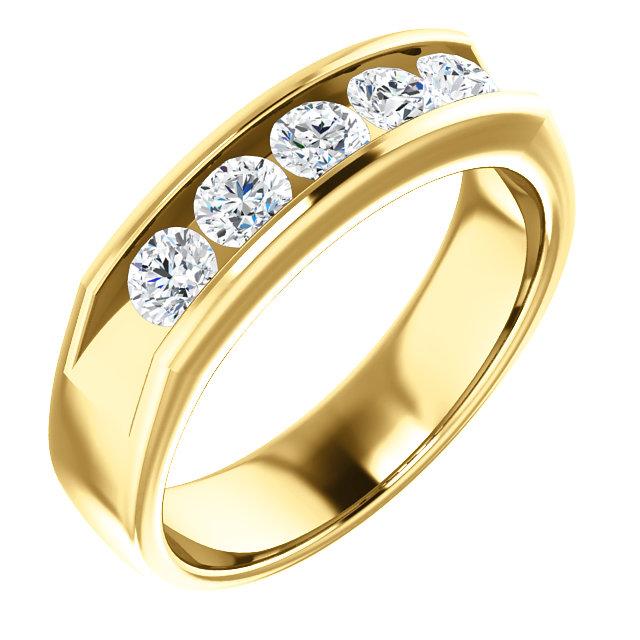 Five Stone 3.8mm Round Diamond Men's Band Yellow Gold - 122785