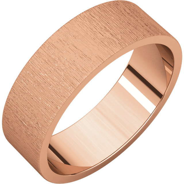 Flat Rose Gold Band Stone finish