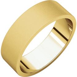 Flat Yellow Gold Band Glass Blast finish