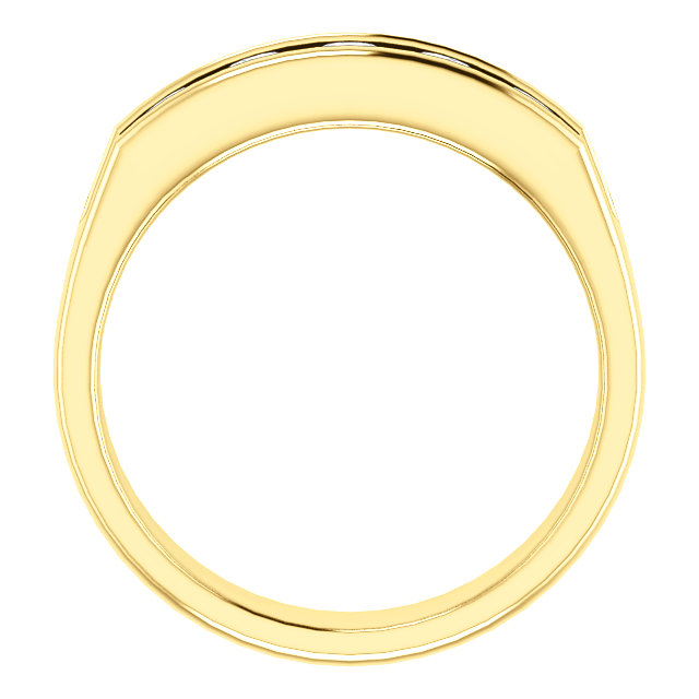 Five Stone 3.8mm Round Diamond Men's Band Yellow Gold through view - 122785