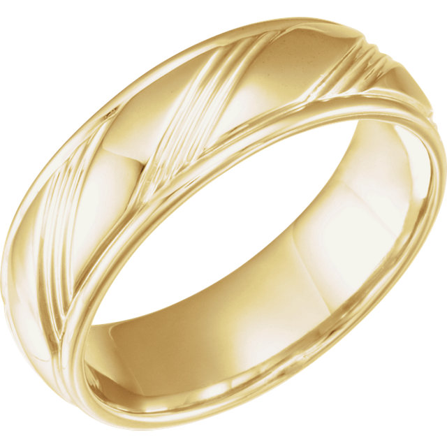 Yellow Gold Fancy 6.5 mm Wedding Band - 653070
